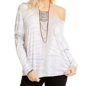 Chaser VINTAGE JERSEY LACE UP ARMHOLE DOLMAN Top